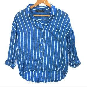 Zara Loose Fit Blue White Stripped Button Up Shirt